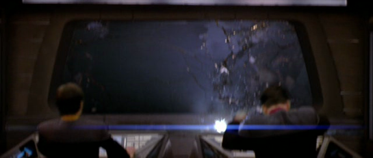 The Enterprise viewscreen gets blown out.